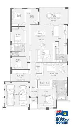 Explore our range of award winning home designs here. Choose your dream home design now with Dale Alcock. Best House Plans, Dream House Plans, Modern House Plans, House Floor Plans, House Layout Plans, House Layouts, 4 Bedroom House Plans, Home Design Floor Plans, Sims House