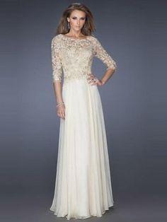 e4bbbe56e32 A-Linie Princess-Stil Juwel-Ausschnitt Applique Chiffon Kleider Mit 3 4  Länge Ärmel
