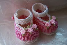 Mary Janes for baby in soft smooth stocknit stitch for a finer look. Knit in the round for minimal seaming.