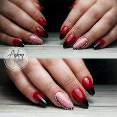 degradee black and red + ringstones