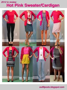 Hot pink sweater/cardigan  Outfit Posts: 2012 in review