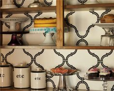 For a fresh look to brighten up the kitchen, remove cabinet doors and add wallpaper in a bright color or fun pattern to the back walls to showcase your personal style in the kitchen Inside Cabinets, Kitchen Cupboards, Open Kitchen, Small Space Living, Small Spaces, Apartment Decorating On A Budget, Apartment Ideas, Fixer Upper House, Little Kitchen