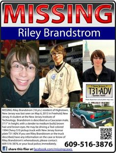 UPDATE: Riley Brandstrom's body was found on train tracks, may 10, 2013, per the Tentonian.