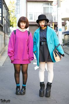 When we met Suu and Akako in #Harajuku, they both told us that they are fans of the Japanese rock band Kana-Boon. Their looks feature bob hairstyles, bright outerwear, and items from the Japanese brands Emoda, titty&co, and WEGO. Their full looks with closeup photos are online here. #tokyofashion #streetsnap