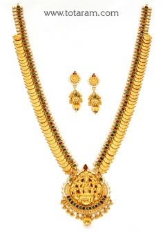 """"""" Gold 'Lakshmi Kasu' Long Necklace & Long Earrings Set with Ruby,Emerald & Cz"""" - Indian Gold Jewelry from Totaram Jewelers Gold Mangalsutra Designs, Gold Earrings Designs, Gold Jewellery Design, Necklace Designs, Gold Jewelry Simple, Jewelry Patterns, Indian Bridal, Bridal Jewelry, Wedding Bands"""