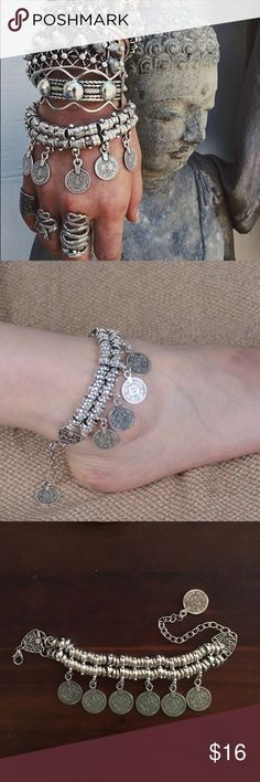 """Chunky Boho Bracelet/Anklet Chic bohemian coin bracelet that also makes a great anklet. Nice heavy alloy with Turkish coin detail. Bracelet is 6"""" long with a 3"""" extension chain. Personal favorite of mine :) Vega Boutique Jewelry Bracelets"""