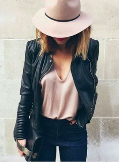 Blush + leather.