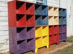 modular furniture system bookshelf cubby storage by modosb on Etsy Silver Furniture, Entryway Furniture, Modular Furniture, Kids Furniture, Furniture Design, Vintage Furniture, Furniture Storage, Oriented Strand Board, Cubby Storage