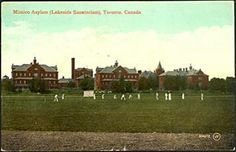 This is an old postcard showing the asylum in 1910 during a cricket match. (Credit: Toronto Reference Library) Cricket seems to have been quite the popular sport in the early 1900's.  The sports news sections of the newspapers consistently provided reports of the matches, players and scores.  The Mimico Asylum Cricket Club seemed to be the team to beat in those days.  In 1905, three of Mimico's players were selected for the International Cricket team to play against the United States.