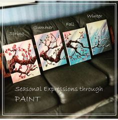 4 Piece Painting - a Walk Through the Seasons with a Cherry Tree