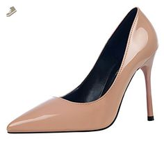fcd7377a4eaf Passionow Women s Fashion Plain Versatile Pointy Toe Stiletto Heel Office  Dress Party PU Pump Shoes (