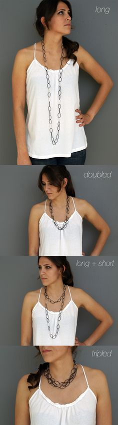 from long chain to statement necklace - four ways to wear the lucy long chain link necklace