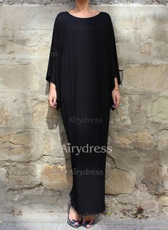 Dress - $16.19 - Rayon Solid Long Sleeve Maxi Casual Dresses (1955121878)