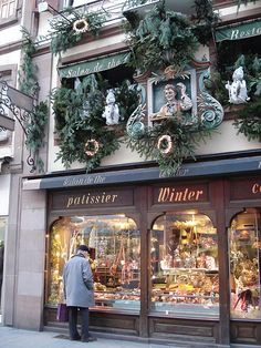 Patissier and Restaurant ~ Gare, Strasbourg, Alsace, France ~ Decorated for Christmas. Lots of yummy things inside!