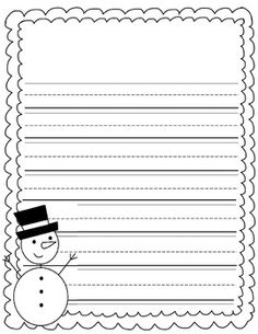 Freebie Snowman Writing Paper  Tpt Free Lessons