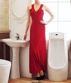 Spaghetti Strap Cutout Back Red Lycra Maxi Dress