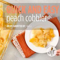 Quick and Easy Peach Cobbler Recipe Peach Cobbler Crust, Good Peach Cobbler Recipe, Best Peach Cobbler, Homemade Peach Cobbler, Peach Cobbler Dump Cake, Southern Peach Cobbler, Peach Cobbler With Bisquick, Peach Cobblers, Peach Pies