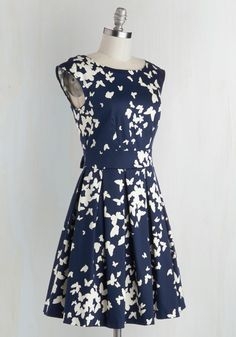 Fluttering Romance Dress in Butterfly Silhouettes. Ah, that familiar pitter-patter of the heart you feel after slipping into this butterfly-print frock by Closet London! #blue #modcloth