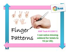 """Finger Patterns"" - Solve for missing numbers for total up to 15 (or 20). Supports learning Common Core Standards: 2.OA.2, 1.OA.6 [KNP Task # S 2267.5]"