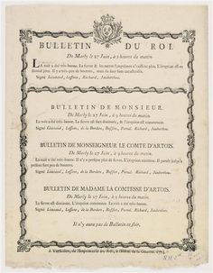 Bulletin announcing the vaccinations of Louis XVI, the Comte de Provence and the Comte and Comtesse d'Artois, June 1774