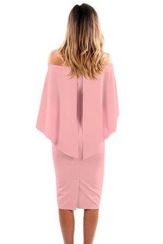 0c46ff1f78fcf Sienna Cox Off Shoulder Batwing Cape Dress
