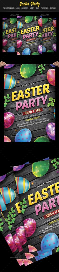 Easter Party Flyer Template PSD