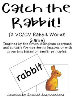 Inspired by the Orton-Gillingham Approach and suitable for use with programs based on similar principles. A great addition to your literacy centers, phonics lessons, and/or tutorial sessions!Print on card stock, laminate, and cut. Scatter the rabbit cards throughout the deck.