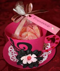 Tea Cup party favor made with Cricut.  Tags, Bags, Boxes & More 2
