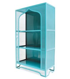 """The Almidi étagère by Casamidy pays homage to classic Moroccan architecture. The wroughtiron piece, handmade in Mexico, is crafted with mesh panels and sturdy metal shelves. It is available in custom paint colors as well as a lacquered-metal finish, measures 58"""" h. x 35.5"""" w. x 16"""" d., and costs $1,400. 011-52-41-5152-0403; casamidy.com"""