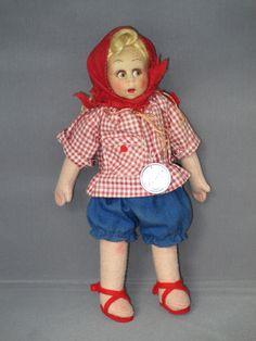 Lenci felt leg girl in red gingham shirt  #350/5  late 1940's