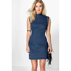 Boohoo Blue Hannah High Neck Sleeveless Denim ($44) ❤ liked on Polyvore featuring indigo, layering cami, high neck cami, blue camisole, blue cami and high neck camisole