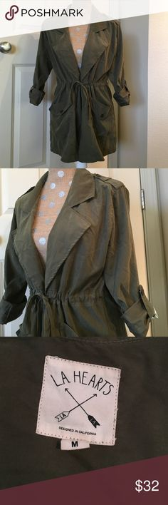 Olive green tie front jacket Light weight and very comfortable, ties in front and has pockets. Size M. LA Hearts Jackets & Coats
