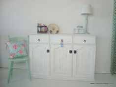 Restyled Vintage: Furniture Makeover: Shabby Chic White Sideboard