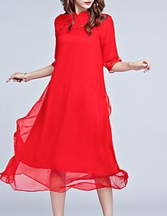 Women's Plus Size Going out Vintage Chinoiserie Loose Dress,Solid Stand Midi ½ Length Sleeve Silk Polyester Red Spring Summer Mid Rise – GBP £ 21.11