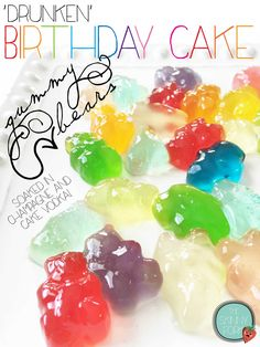 'Drunken' Birthday Cake Gummy Bears — The Skinny Fork Alcohol Gummy Bears, Drunken Gummy Bears, Holiday Drinks, Fun Drinks, Alcoholic Drinks, Cocktails, Gummy Bear Cakes, Cake Vodka, Color Sprinkle