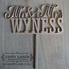Mr & Mrs wood wedding cake topper