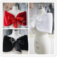 White Faux Fur Shrug Bolero Black or Red Bridal Wedding by ASDRESS, $9.99