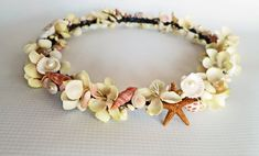 Beach Wedding Flower CrownSea Shell Flower by HairDoodleDo on Etsy, $58.00