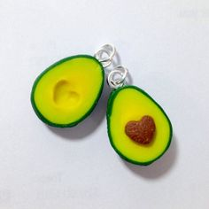 BFF Avocado Necklace - Food Jewelry - Miniature Food - Best Friends - Heart…
