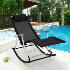 Patio Sun Lounger Garden Rocking Chair Black Folding Seat Deck Recliner  Terrace #Patio #Sun Part 59