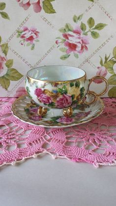 Teacup and Saucer Set Vintage By Royal Sealy by PamelasCottage