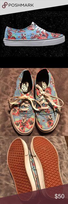 Vans Yoda Aloha Star Wars  Men's 5.5/Women's 7 May the Force be with you.  These Vans are part of the Star Wars Series.  They are blue with red hibiscus flowers and Yodas!!!! Very cute.  They have only been worn maybe once or twice— there is no wear on the bottoms. The shoe strings look a bit dirty in a few spots, but overall, the shoes are brand new. Vans Shoes Athletic Shoes