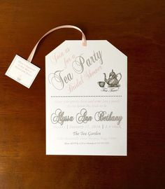 Tea Party Bridal Shower Invitations Pink and by BeforeTheRings