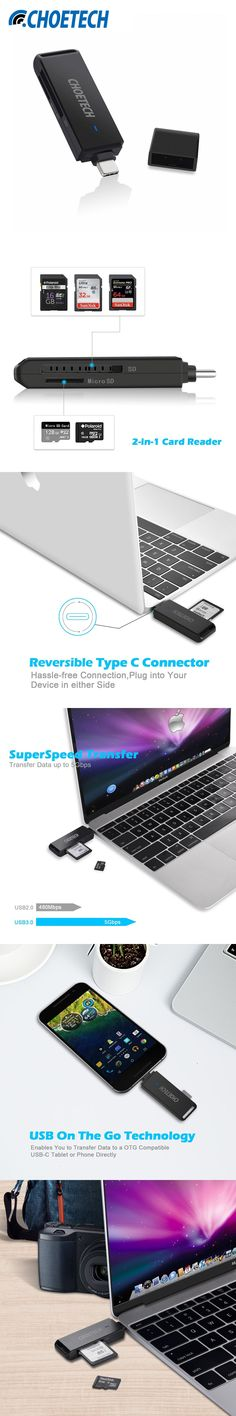 Chip Past USB IF-CHOETECH 2 Slot USB C to SD Micro SD Card Reader OTG Adapter Memory Card Reader for MacBook Laptop Accessories