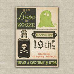 Halloween beer invitation booze adult party digital file, printable DIY
