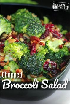 This Chopped Broccoli Salad Is Fresh, Crunchy, And Full Of Flavor. The Crisp Bacon, Chewy Raisins, And Sweet Dressing Make It A Delicious Side For Any Meal. Via Favfamilyrecipz Broccoli Salad, Broccoli Recipes, Asparagus Recipe, Turkey Recipes, Side Dish Recipes, Dinner Recipes, Drink Recipes, Side Dishes, Taco Salad Recipes