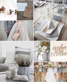 graues, weisses, holzfarbenes Hochzeitskonzept