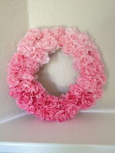 Pink Ombré Paper Flower Wreath by ChicoChicaDesigns on Etsy, $26.00 so cute for baby shower, bridal shower home decor