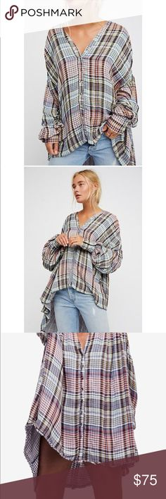 Free People plaid tunic top XS New over sized Free People plaid tunic top XS New over sized Free People Tops Tunics