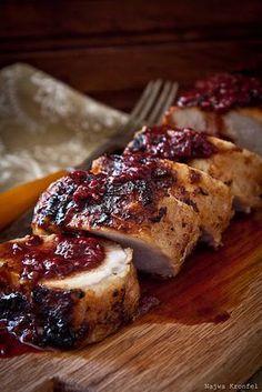 Pork Tenderloin with a Cranberry - Raspberry Sauce